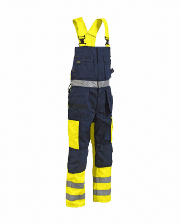 Blaklader 2603 Bib Overalls High Vis (Yellow/Navy Blue)